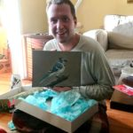 Ryan receives a Blue Jay Painting.