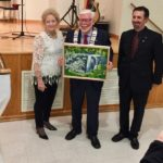 "Stewart Halliday Receives ""Eugenia Falls"" 2018 as a gift. The painting was purchased by Grey Highlands. (with Mayor McQueen and Councillor Silverton)"