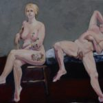My painting, Lori and Peter, explores a relationship between a woman and a man, age, sensuality, body acceptance, self awareness as well as tattoos as souvenirs. I am currently examining the nude portrait as expression of the true self. Both of my subjects are comfortable nude. I first met them as life drawing models who came to my studio for a traditional session. Lori struck me with her confidence and personality which immediately transcended the task of life model. The painters who inspire me in my figure work and specifically the nude portrait, are Rembrandt, Manet, Pearlstein, and Freud.  I love open, free and expressive brushstrokes which search and then find a contour or define a form.