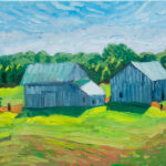 """Two Barns. 55 SR, oil on canvas  16""""x20"""""""