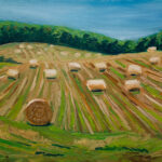 """Straw Bales - South of Maxwell. oil on canvas  16""""x20"""""""