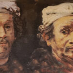 Two Rembrandts oil on board 1979